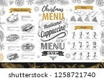 hand drawing christmas holiday... | Shutterstock .eps vector #1258721740