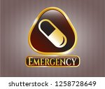 gold badge with pill icon and...   Shutterstock .eps vector #1258728649