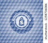 money tag icon inside blue...   Shutterstock .eps vector #1258736086