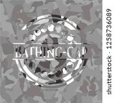 bathing cap on grey camouflaged ... | Shutterstock .eps vector #1258736089