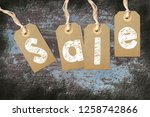 hangtags with the word sale on... | Shutterstock . vector #1258742866