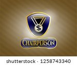 gold emblem or badge with...   Shutterstock .eps vector #1258743340