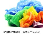 garbage bags and yellow... | Shutterstock . vector #1258749610