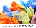 colourful garbage plastic bags... | Shutterstock . vector #1258749760
