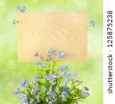 Wood Sign with Flowers / empty board for your text /  on light-green background - stock photo