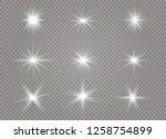 star explodes on transparent... | Shutterstock .eps vector #1258754899