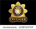 golden badge with sun icon and ...   Shutterstock .eps vector #1258763749
