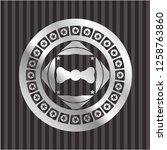 bow tie icon inside silvery...   Shutterstock .eps vector #1258763860