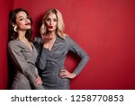 two beautiful sexy young woman... | Shutterstock . vector #1258770853