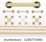 nautical rope. round and square ... | Shutterstock .eps vector #1258773340