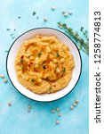 hummus with chickpea and tahini ... | Shutterstock . vector #1258774813