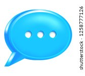 blue speech bubble icon with... | Shutterstock .eps vector #1258777126