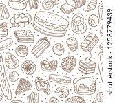 sweet bakery food seamless... | Shutterstock .eps vector #1258779439