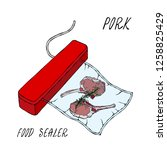 vacuumizer food sealer. what is ... | Shutterstock .eps vector #1258825429