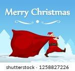 santa dragging bag | Shutterstock .eps vector #1258827226