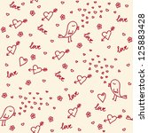 love doodle seamless pattern | Shutterstock .eps vector #125883428