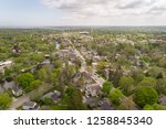 Aerial view of downtown Cedarburg Wisconsin during the summer
