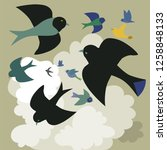 birds soaring among the clouds ....   Shutterstock .eps vector #1258848133