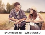 portrait of happy couple on... | Shutterstock . vector #125890550