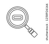 a magnifying glass with a minus ...
