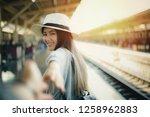 woman walking on romantic... | Shutterstock . vector #1258962883
