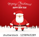 santa claus in winter snowy... | Shutterstock . vector #1258965289