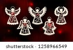 collection of angels. laser cut ... | Shutterstock .eps vector #1258966549