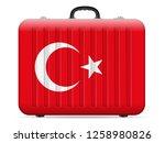 turkey flag travel suitcase on... | Shutterstock .eps vector #1258980826