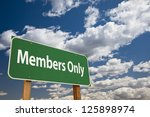 members only green road sign...   Shutterstock . vector #125898974