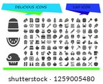 delicious icon set. 120 filled ... | Shutterstock .eps vector #1259005480
