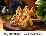 closeup triangle set of hot...   Shutterstock . vector #1259024689
