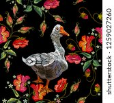 embroidery goose  berry and red ... | Shutterstock .eps vector #1259027260