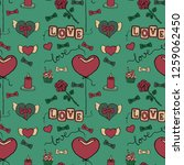 seamless pattern with romantic... | Shutterstock .eps vector #1259062450