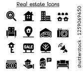real estate icon set | Shutterstock .eps vector #1259069650