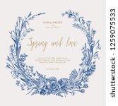 flower wreath. spring and... | Shutterstock .eps vector #1259075533