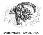 crocodile in the water isolated ... | Shutterstock .eps vector #1259078923