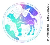 boho badge with camel in pastel ...   Shutterstock .eps vector #1259080210