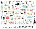 big kids sea life clipart...   Shutterstock .eps vector #1259092099