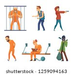 criminals and prisoners. set of ... | Shutterstock . vector #1259094163