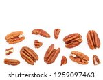 pecan nut isolated on white...