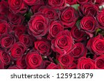 Stock photo big bunch of red roses 125912879