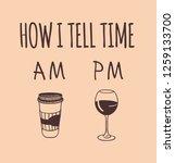 hand drawn illustration coffee  ... | Shutterstock .eps vector #1259133700
