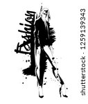 fashion girl sketch. fashion... | Shutterstock .eps vector #1259139343