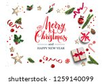 holiday card with festive card... | Shutterstock .eps vector #1259140099