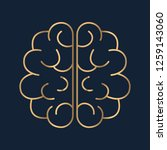 brain icon flat. simple gold... | Shutterstock .eps vector #1259143060
