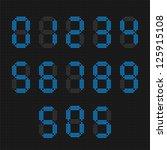 set of blue digital numbers.... | Shutterstock .eps vector #125915108