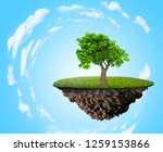 green grass island with tree... | Shutterstock . vector #1259153866