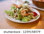 selective focus shrimp in white ... | Shutterstock . vector #1259158579