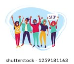 group of young men and women... | Shutterstock .eps vector #1259181163