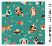 seamless pattern on green... | Shutterstock .eps vector #1259181406
